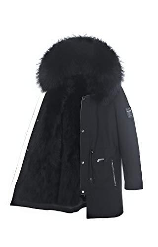 Lea Marie Herren Luxury Parka XXL Kragen aus 100% ECHTPELZ ECHTFELL Jacke Männer Mantel Fuchspelz Innenfutter (Schwarz, 54)