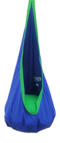 Kids Hanging Pod Swing Chair with Pocket, Hanging Hammock Cocoon, Indoor and Outdoor Fun, Reading Nook, Relaxation, Sensory and Autism Therapy, Easy to Hang Comfortable Nest, Girls and Boys (Blue)