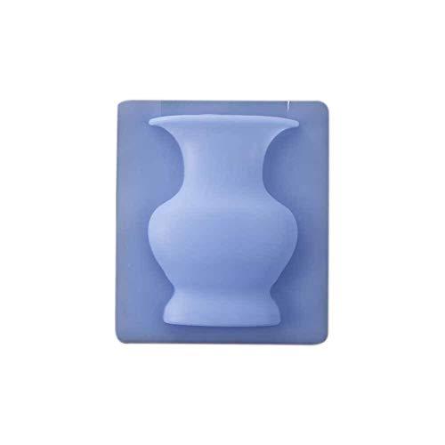 Datouya Maceta Individual Ventana de Pared Boda de Silicona Oficina florero Fuerte pegajosa Exposición Reutilizable Plazoleta Plantas en Maceta (Color : Blue)