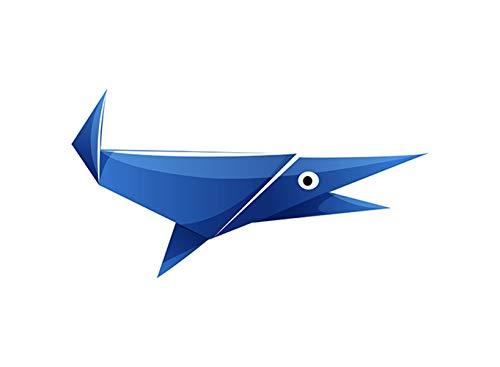 SHBKGYDL Imprimir En Lienzo Impresiones De Lienzo,Animales De Origami Pez Azul Abstracto, Hogar De Pared Simple Decoración Art Deco Pintura Porche Restaurante Salón Dormitorio Comedor Pasarela