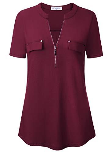Bulotus Womens Blouses and Tops for Work Short Sleeve Tunics for Legging Burgundy 2XL