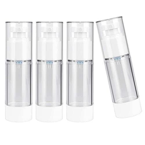 4 Piezas Botella de Spray 30ml, Atomizador de Viaje de Plástico, Botellas de Prensa de Bomba de Vacío, Set de Botellas de Viaje, Envases de Líquidos Transparentes para Champú de Viaje, Perfume
