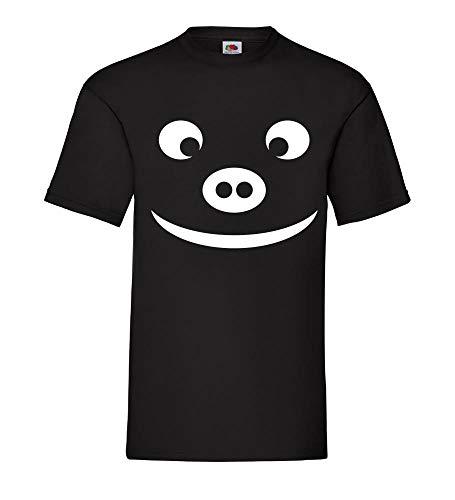 Schweinekopf mit typischer Steckdosennase Männer T-Shirt Schwarz 3XL - shirt84.de