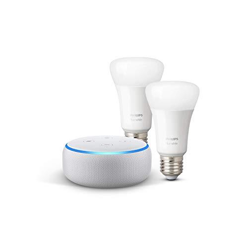 Echo Dot (3ª generazione) - Tessuto grigio chiaro + Lampadine intelligenti a LED Philips Hue White, confezione da 2 lampadine, compatibili con Bluetooth e Zigbee (non è necessario un hub)