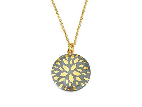 lille mus Halskette mit Porzellan-Anhänger Blumenstern - Grau/Gold Porzellanschmuck Kette