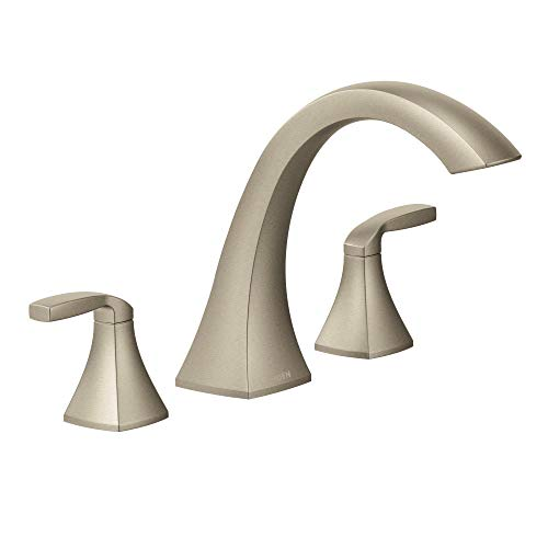 Moen T693BN Voss Two-Handle Deck Mount Roman Tub Faucet Trim Kit, Valve Required, Brushed Nickel