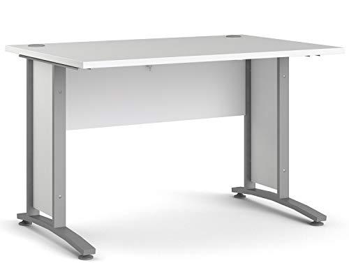 Schreibtisch Computertisch Arbeitstisch | Weiß | Silbergrau