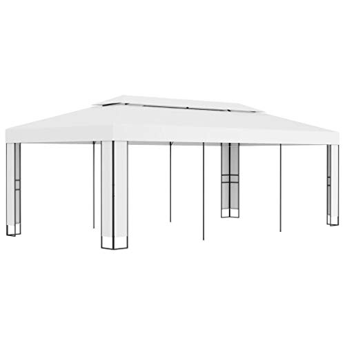vidaXL Gazebo with Double Roof Sturdy Durable Garden Backyard Outdoor Canopy Shelter Party Pop Up Wending Shelter Tent Patio Pavilion 3x6m White