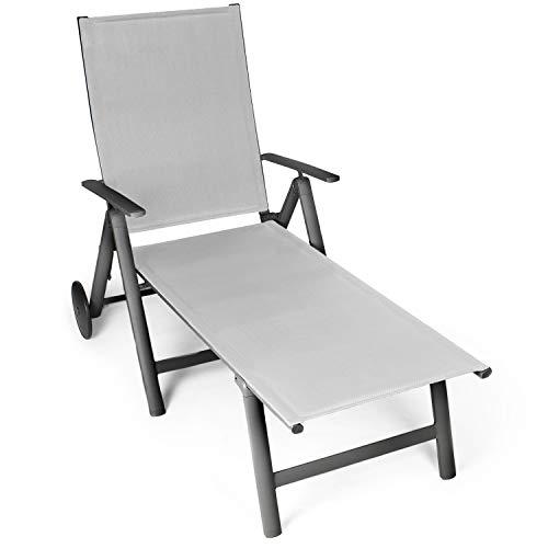 Vanage Sonnenliege in grau - Gartenliege mit 2 Rädern - Liegestuhl ist klappbar - Gartenmöbel - Strandliege aus Aluminium - Relaxliege für den Garten, Terrasse und Balkon