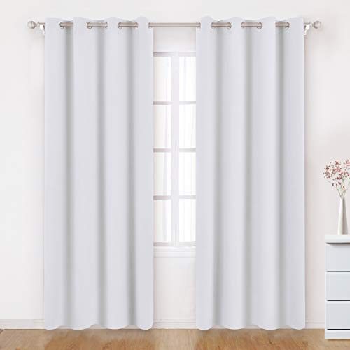 BYSURE Greyish White Blackout Curtains 52 X 84 Inch Long Set of 2 Panels Room Darkening Bedroom Curtains/Drapes, Thermal Grommet Insulated Window Curtains for Living Room
