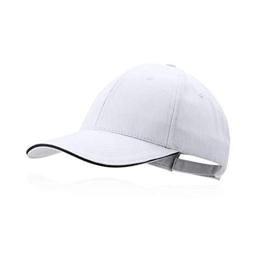 Gorra blanca béisbol padel golf gorra 6 paneles 100% algodón peinado cierre ajustable gorra unisex