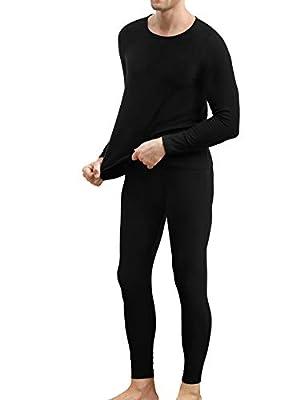 COLORFULLEAF Men's Cotton Thermal Underwear Set Heavyweight Long Johns Fleece Lined (Black, XL)