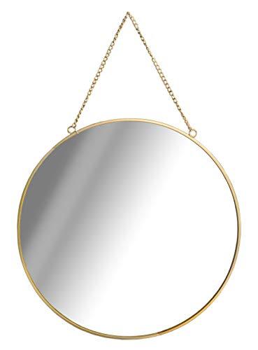 GreyZook Spiegel mit Kette, rund, Vintage-Stil, Metallrahmen, 30 cm