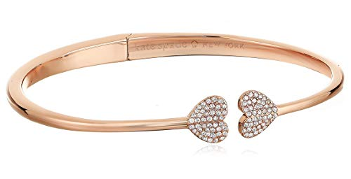 Kate Spade New York Heart to Heart Open Hinged Cuff Clear/Rose Gold One Size