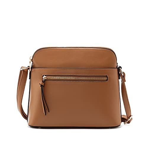 La Terre Fashion Crossbody Bag with Front Zipper and Wide Functional Pocket, Lightweight Smooth Vegan Leather Medium (Brown)