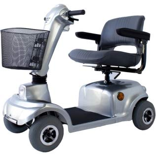 Scooter eléctrico 4 ruedas, Para adultos, Asiento giratorio y plegable, Auton. 34 km, 12V, Compacto, Gris, Piscis, Mobiclinic