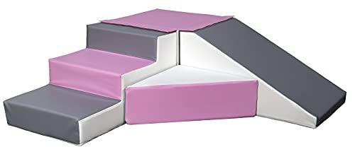 Velinda 4 Großbausteine Schaumstoffbausteine Spielbausteine Bauklötze Rutsche-Set (Farbe: weiß,rosa,grau)