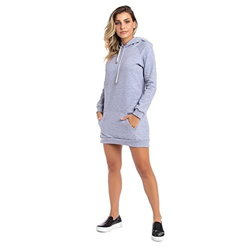 Vestido Moletom Feminino Liso Capuz,curto,mangalonga C/bolso