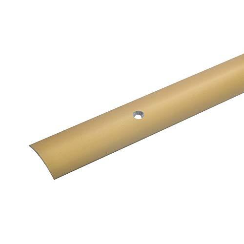 Übergangsprofil aus Aluminium * 28mm breit * 1,5 mm Stark * Robust * Kratzfest | Übergangsleiste für Teppich Laminat & Parkett | Alu Übergangsschiene I passende Schrauben und Dübel (100 cm, gold)