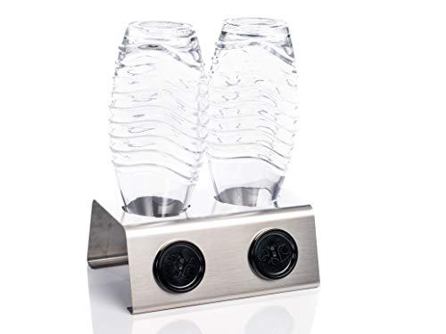 Streambrush Two in ONE Abtropfhalter und Spülmaschineneinsatz aus Edelstahl für z.B. Sodastream Crystal & Emil Flaschen - Flaschenhalter mit praktischer Deckelhalterung | Made in Germany 2X