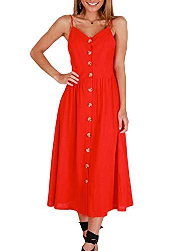 OMZIN Damen Kleid Urlaubkleid Vintage Elegant mit Knöpfen Knielang Blumenkleid Ärmellos Cocktailkleid Rot M