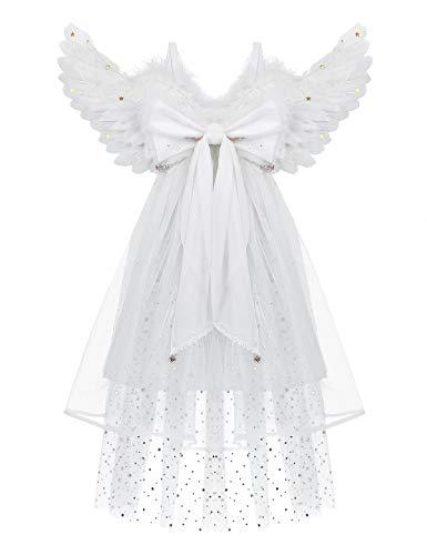 CHICTRY 65 * 35/80 * 40cm Engel Flügel aus Federn Engel Kostüm Zubehör mit Schleier und Bowknot für Kinder Erwachsene Karneval Fasching Cosplay Weiß Medium