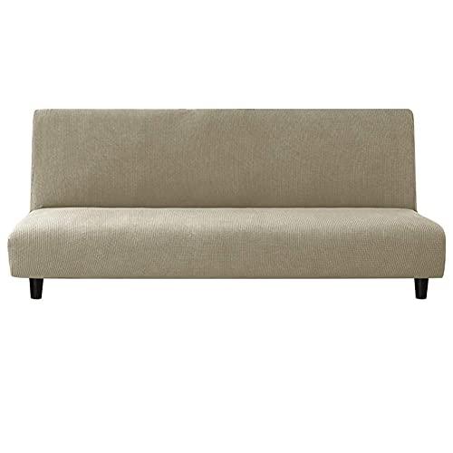 erddcbb Armless Sofa Cover,Polyester Spandex Stretch Futon Slipcover Protector,armless Sofa Bed Seat Cover, Bed Covers Couch Stretchy Slipcovers,Solid Color (180cm×230cm,Sand Color)