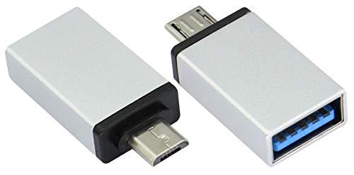 AAOTOKK OTG Adattatore Micro a USB, Lega di Alluminio Micro USB Maschio a USB 2.0 A Femmina OTG (On The Go) Adattatore per Tablet Smartphone Android Altro USB e Micro Dispositivi(2 Pezzi Argento)