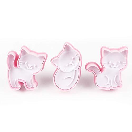 OBR KING Ausstechform Katze Kunststoff Keksausstecher Set Ausstecher Tiere Fondant Kuchen Deko Werkzeuge, 3 Stück