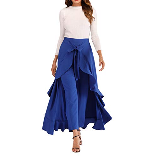 Women's Ruffle Pants Plain Split Tie-Waist Maxi Long Palazzo Overlay Pant Skirts Wide Leg High Waist Loose Pants Blue