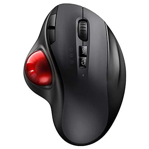 Bluetooth Trackball Mouse, 2.4G USB Wireless & Bluetooth Ergonomic Mice Between 3 Device Rechargeable with USB-C Port and 3 DPI for Windows/ Mac OS/ iOS/ Android - Black