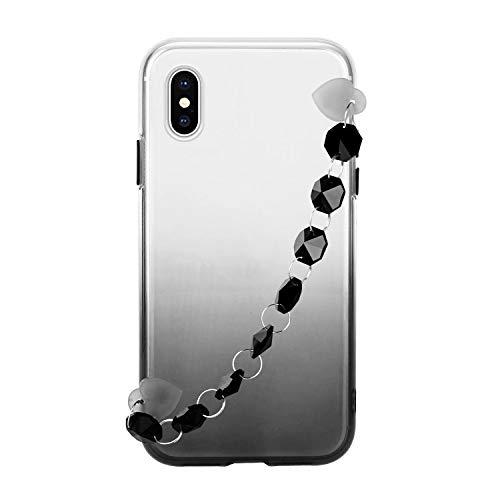 Miagon Armband Kette Hülle iPhone X/XS,Gradient Handyhülle Weich Silikon Klar Slim Stoßfestr Schutzhülle Ultra Dünn Bumper für iPhone X/XS,Schwarz