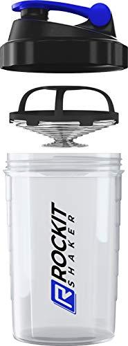 Rockitz Premium Protein Shaker 500ml - erstklassige Mischfunktion plus Infusion Sieb - für super cremige Fitness Eiweiß Shakes, Proteinshake Becher,Transparent | Blau