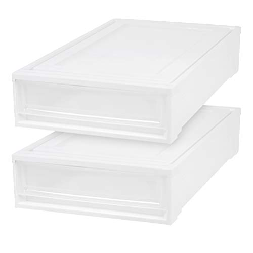 IRIS USA, Inc. BC-UB Under Bed Box Chest Drawer, White, 2 Pack, 27 Quart