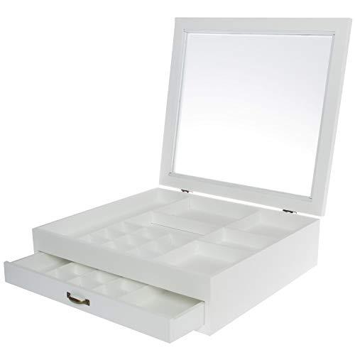 elbmöbel Schmuckkasten Box Glasdeckel weiß Holz Setzkasten Sammlerbox Schmuckbox