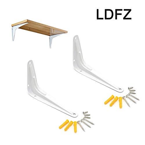 Shelf Brackets LDFZ houder, rechthoekig, wit, plankhouders in L-vorm voor het ophangen van planken, knutselen, metaal ijzer, robuuste kunst, met schroeven