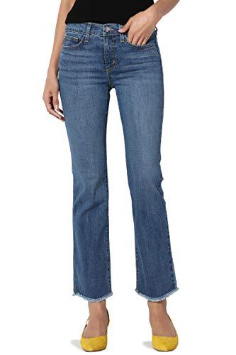 TheMogan Women's Flare Frayed Hem Mid Rise Slim Crop Bootcut Jeans USA Medium 25