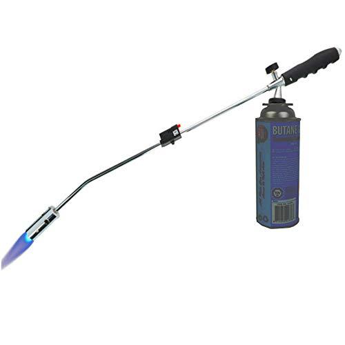 TronicXL Unkrautvernichter Gasbrenner Unkrautbrenner Brenner Abflammgerät Bajonettanschluss Piezo Zündung ohne Chemie auch nutzbar als Gas Grillanzünder Grill Anzünder (Unkrautvernichter + 1 Flasche)