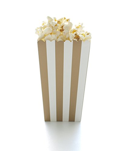Gold Stripe Popcorn Boxes (12 Pack) - Wedding, Anniversary or Graduation Movie Theater Style Gourmet Mini Popcorn Containers