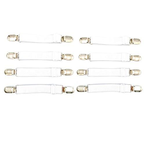 JZK Pack van 8 wit verstelbare elastische lakens dekbedden spanner bedlakenspanner beddenspanner, hoeslakenspanner, hoeslakenhouder
