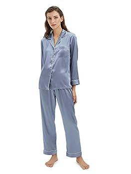 SIORO Silky Pajamas for Women Satin Pajama Sets Long Sleeve Button Down Sleepwear PJ s Soft Loungewear Blue Grey Medium