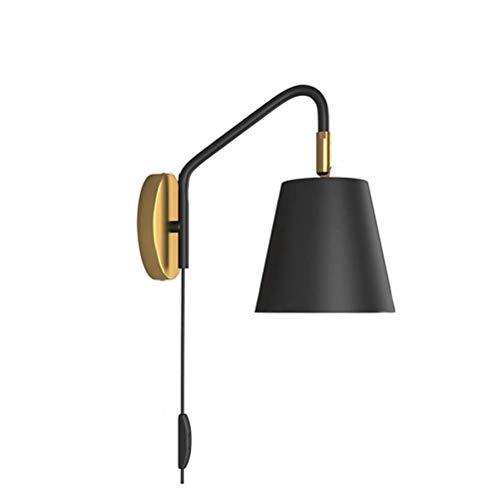 Lámpara de pared retro, lámpara de pared de metal ajustable en negro, lámpara de cama, lámparas de lectura de pared, cable de 1,5 metros con interruptor y enchufe, punto de pared rústico para sala de
