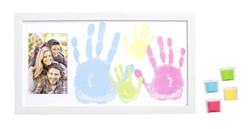 Tiny Ideas Family Handprint Frame and Paint Kit, DIY Crafts, Family Craft Night, White