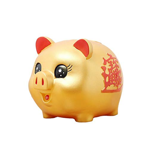 Cakunmik Hucha de cerdito dorada, tarro de monedas a prueba de trituración, caja de dinero de cerdo de la suerte, gran regalo para niños y niñas, 17 x 12,5 x 13 cm