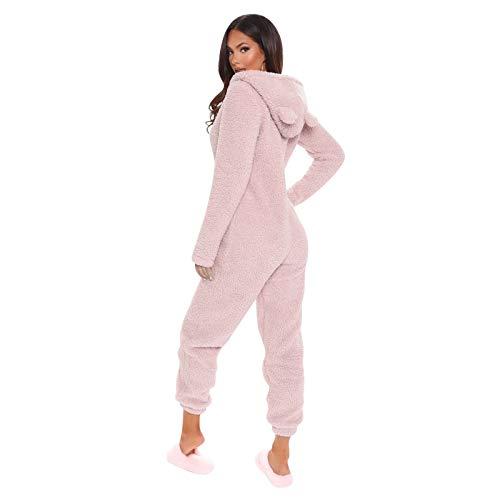Young Forever Damen Jumpsuit Teddy Fleece Einteiler Overall mit Kapuze flauschig und kuschelig Warme Weich Einteiler Ganzkörperanzug Pyjama mit Reißverschluss (Rosa, S)