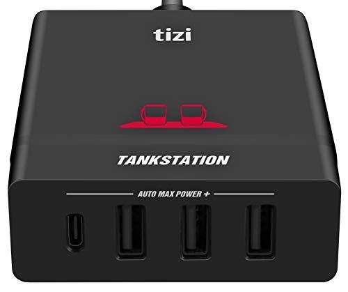 equinux NEU tizi Tankstation USB-C + 3 USB-A (75W) mit bis zu 60W USB-C PD Leistung - USB-C 4 Port Ladegerät mit Power Delivery kompatibel mit Apple MacBook Pro, iPad, iPhone.