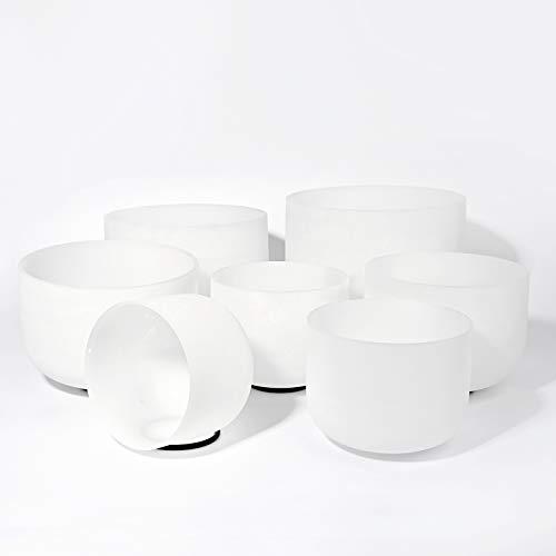 432HZ 7-13 inch Set of 7 PCS Quartz Crystal Singing Bowl Sound Healing Meditation