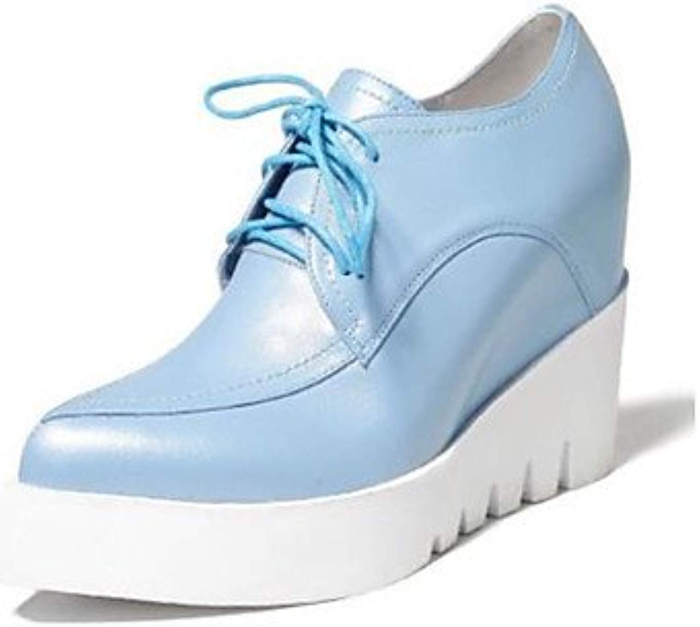 LvYuan-GGX Damen High Heels PU Frühling Schwarz Beige Blau Flach, Beige, us8   eu39   uk6   cn39