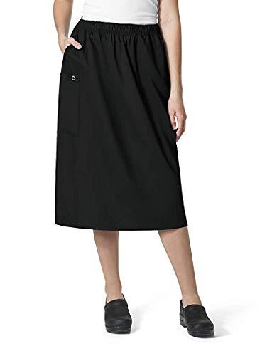 WonderWink Women's Size Wonderwork Plus Pull-on Cargo Scrub Skirt, Black, 2X-Large
