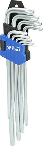 Brilliant Tools BT044019 Jeu de clés TORX Longues à tête sphérique. 9 pcs, Bleu/Noir, 220 mm